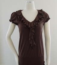 INC International Concepts Knit Top Brown Ruffle Collar Short Sleeve Siz... - $9.95