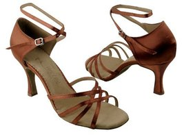 Ladies Women Ballroom Dance Shoes for Latin Salsa Tango SERA1606 Dark Tan Sat... - $65.95