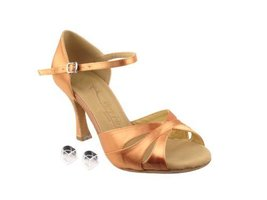 "Very Fine Ladies Women Ballroom Dance Shoes EKSERA3840 Tan Satin 2.5"" He... - $65.95"