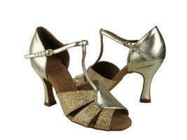 "Ladies' Latin Rhythm Salsa Signature S9238 Gold Scale & S Gold Lthr 2.5""... - $75.95"
