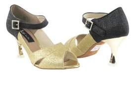 Ladies Latin Rhythm Salsa Competitive Dancer CD3010 Gold Stardust & Blk ... - $79.95