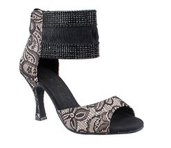 Very Fine Ladies Women Ballroom Dance Shoes EKSA7003 Flesh Satin & Black Lace... - $65.95