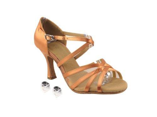 Very Fine Ladies Women Ballroom Dance Shoes EKSA1605 Tan Satin & Flesh Mesh 2...