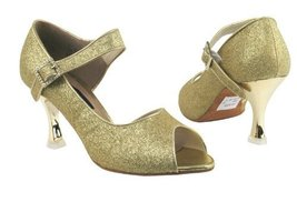 "Ladies Latin Rhythm Salsa Competitive Dancer CD3005 Gold Stardust 2.5"" Gold P... - $79.95"
