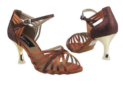 Ladies Ballroom Latin Salsa Tango Dance Shoes CD3012 Dark Tan Satin & Copper ... - $79.95