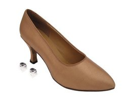 "Very Fine Ladies Women Ballroom Dance Shoes EK6901 Brown Satin 2.75"" Heel (6M) - $64.95"