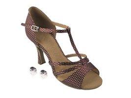 Very Fine Ladies Women Ballroom Dance Shoes EKSA1683 Coffee & White Dots... - $65.95