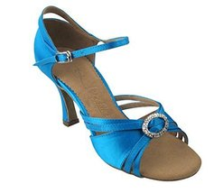 "Very Fine Ladies Women Ballroom Dance Shoes EKSA1154 Blue Satin 2.5"" Heel (6.5M) - $65.95"