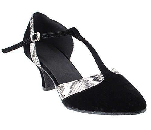 Primary image for Very Fine Ladies Women Ballroom Dance Shoes EKSA3551 Black Velvet White Snake...