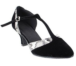 Very Fine Ladies Women Ballroom Dance Shoes EKSA3551 Black Velvet White ... - $65.95