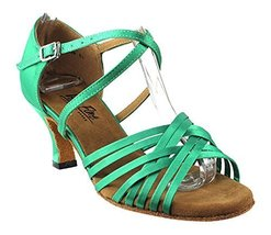 Very Fine Ladies Women Ballroom Dance Shoes EK2784 LED Limited Green Satin 2.... - $65.95