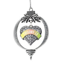 Inspired Silver Trisomy 13 Awareness Pave Heart Holiday Ornament - $14.69