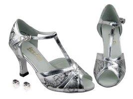 Very Fine Ladies Women Ballroom Dance Shoes EK2712 Silver & Silver Trim Trim ... - $64.95