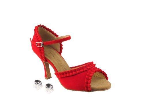 """Very Fine Ladies Women Ballroom Dance Shoes EKSA7001 Red Velvet 2.5"""" Heel (7.5M)"""