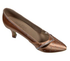 Very Fine Ladies Women Ballroom Dance Shoes EKSA11004 - S9171 Tan Satin Clear... - $149.95