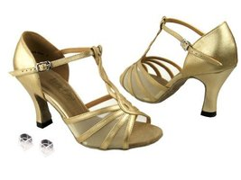Very Fine Ladies Women Ballroom Dance Shoes EK1692 Light Gold Leather & Flesh... - $64.95