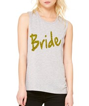 Women's Tank Flowy Scoop Muscle Top Bride Glitter Gold Print Bachelor - $20.94