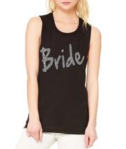 Women's Tank Flowy Scoop Muscle Top Bride Glitter Silver Print Bachel - $20.94+