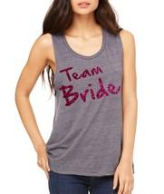 Women's Tank Flowy Scoop Muscle Top Team Bride Glitter Pink Print Bac - $20.94+