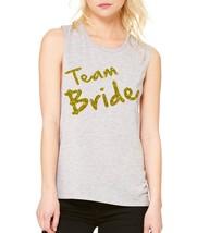 Women's Tank Flowy Scoop Muscle Top Team Bride Glitter Gold Print Bac - $20.94+