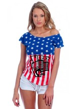 Women's Drop Sholder USA Flag Happy 4th Of July T Shirt - $19.99