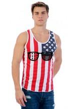 Men's USA Flag Tank Top America Glasses Love USA Party Top - $19.94+