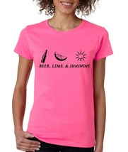 Women's T Shirt Beer Lime And Sunshine Summer Party Tee - $10.94+