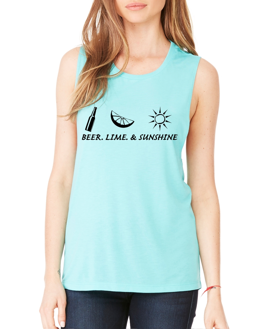 Women's Flowy Muscle Top Beer Lime And Sunshine Summer Party