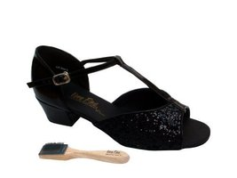 "Very Fine Ladies Women Ballroom Dance Shoes EK801 Black Sparkle 1.5"" Hee... - $64.95"