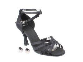 "Very Fine Ladies Women Ballroom Dance Shoes EKSERA2613 Black Satin 3"" Heel (5... - $65.95"