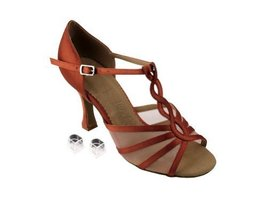 Very Fine Ladies Women Ballroom Dance Shoes EKSA1692 Dark Tan Satin & Flesh M... - $65.95