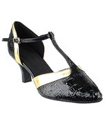 Very Fine Ladies Women Ballroom Dance Shoes EKSA3551 Black Croc & Gold T... - $65.95