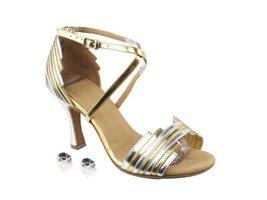 "Very Fine Ladies Women Ballroom Dance Shoes EKSERA1700 Gold & Silver Trim 3"" ... - $65.95"
