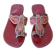 Women Slippers Indian Handmade Maroon Traditional Leather FlipFlops Slip On US 5 - $24.99