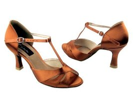 "Ladies Rhythm Salsa Competitive Dancer CD6200 Dark Tan Satin 3"" (8.5M) - $79.95"
