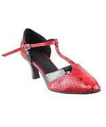 Very Fine Ladies Women Ballroom Dance Shoes EKSA3551 Red Croc & Black Tr... - $65.95