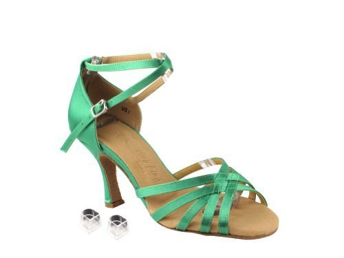 "Very Fine Ladies Women Ballroom Dance Shoes EKSERA2613 Green Satin 2.5"" Heel ..."