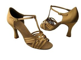 "Ladies' Latin Rhythm Salsa Signature S92304 Tan Satin 2"" Heel (6) - $75.95"