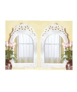 SET OF 2 Wood Framed French Country Style Arched Top Wall Mirror - $58.99