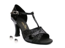 Very Fine Ladies Women Ballroom Dance Shoes EK6016 Black Sparkle & Black... - $64.95