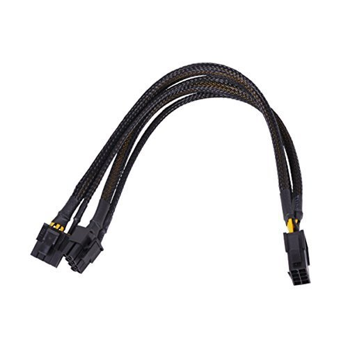 Phobya 6+2 Pin PCI-E to Dual 6+2 Pin PCI-E Y Splitter Cable with Black Sleeving