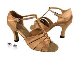 """Very Fine Ladies Women Ballroom Dance Shoes EK1672 Brown Satin 2.5"""" Heel (7.5M) - $64.95"""