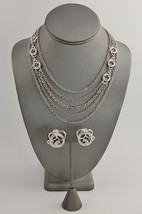 60s 70s VINTAGE MONET SILVER METAL MULTI NECKLACE CHAIN & CLIP EARRINGS SET - €72,06 EUR