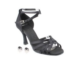 "Very Fine Ladies Women Ballroom Dance Shoes EKSERA2613 Black Satin 2.5"" Heel ... - $65.95"