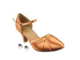 "Very Fine Ladies Women Ballroom Dance Shoes EKSERA3540 Tan Satin 2.5"" Heel (4... - $65.95"