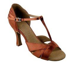 "Very Fine Ladies Women Ballroom Dance Shoes EKSA1144 Dark Tan Satin 2.5"" Heel... - $65.95"