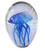Glass Jellyfish 4 Inches Tall Blue and White Paperweight - £29.35 GBP