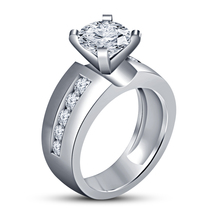 Round Cut Diamond Solitaire W/ Accents Wedding Ring 14K White Gold FN 925 Silver - $79.56