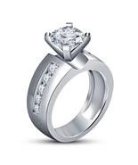 Round Cut Diamond Solitaire W/ Accents Wedding Ring 14K White Gold FN 92... - $79.56