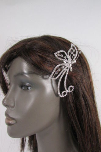 Women Silver Metal Head Fashion Jewelry Butterfly Hair Pin Bridal Wedding Party image 12